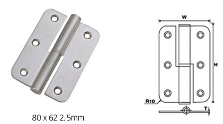 Stainless Steel Ball Bearing Lift-Off Hinges (Round Corner)